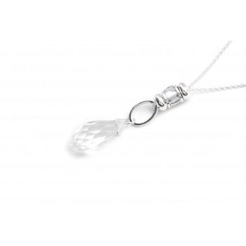 Collar de acero plateado con gota de cristal 70cm