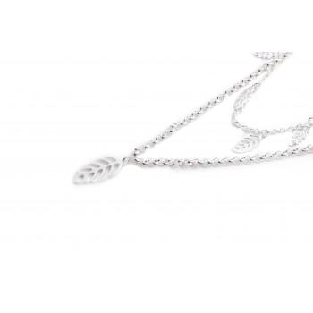 Collar de acero plateado doble con hojas caladas 40/45cm