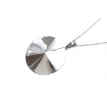 Collar de acero con dije círculo semi abierto 80cm