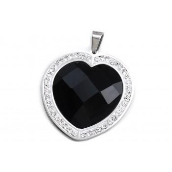 Dije de acero corazón piedra negra borde cubic 33mm