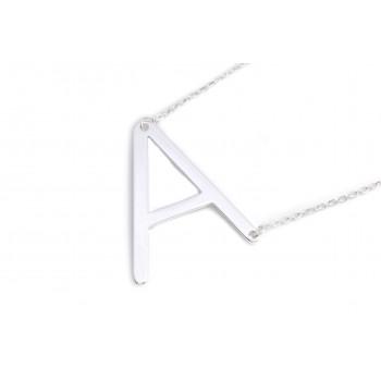 Collar de acero plateado dije iniciales 40cm con extensor