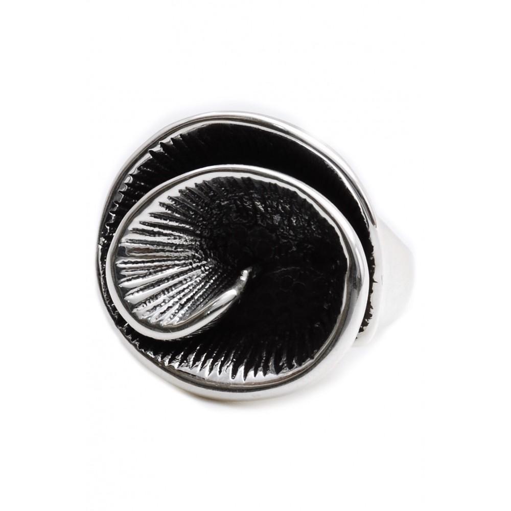 Anillo de plata inflado simil flor espiral