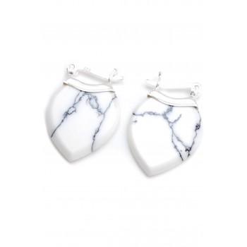 Aros de plata colgante piedra blanca forma hoja 20mm
