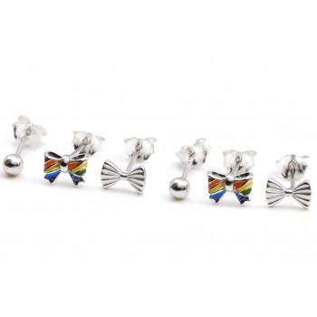 Aros de plata triple mini lazo esmaltado, lazo y bolita 5mm