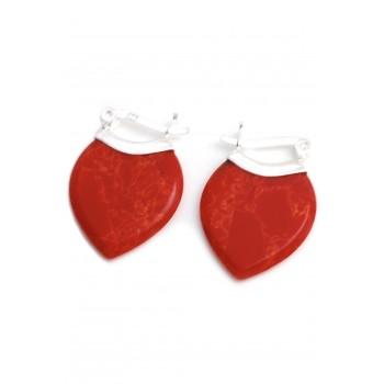 Aros de plata colgante piedra roja forma hoja 20mm