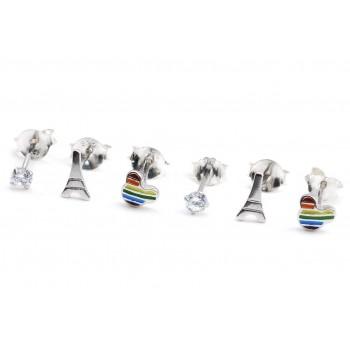Aros de plata triple mini mickey esmaltado, cubic y torre eiffel 4mm