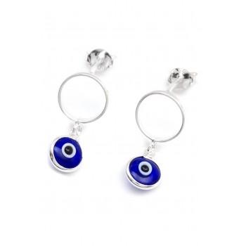 Aros de plata círculo calado con ojo colgante 20mm