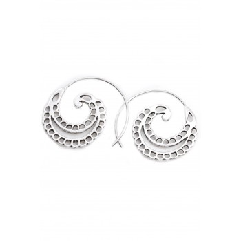 Aros de plata espiral pasante círculos calados 20mm