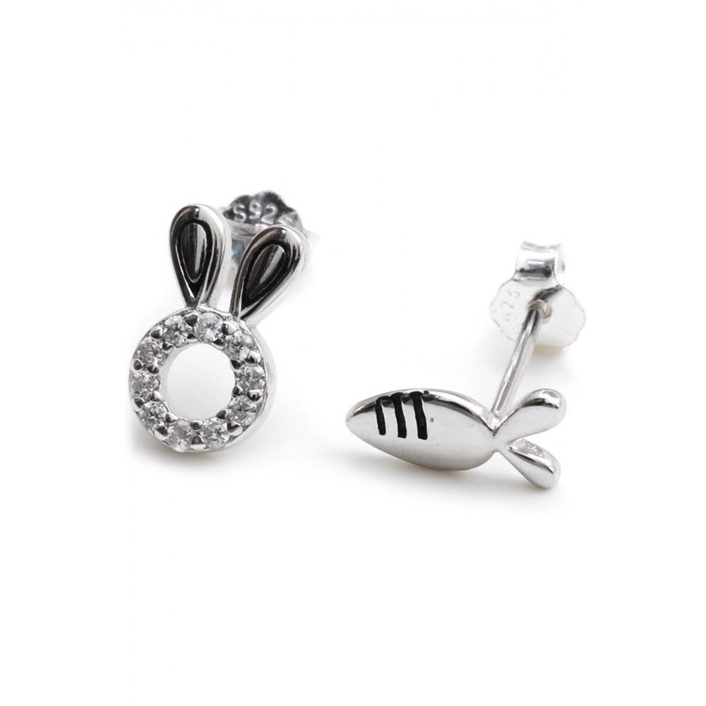 Aros de plata conejito micropave y zanahoria 5mm