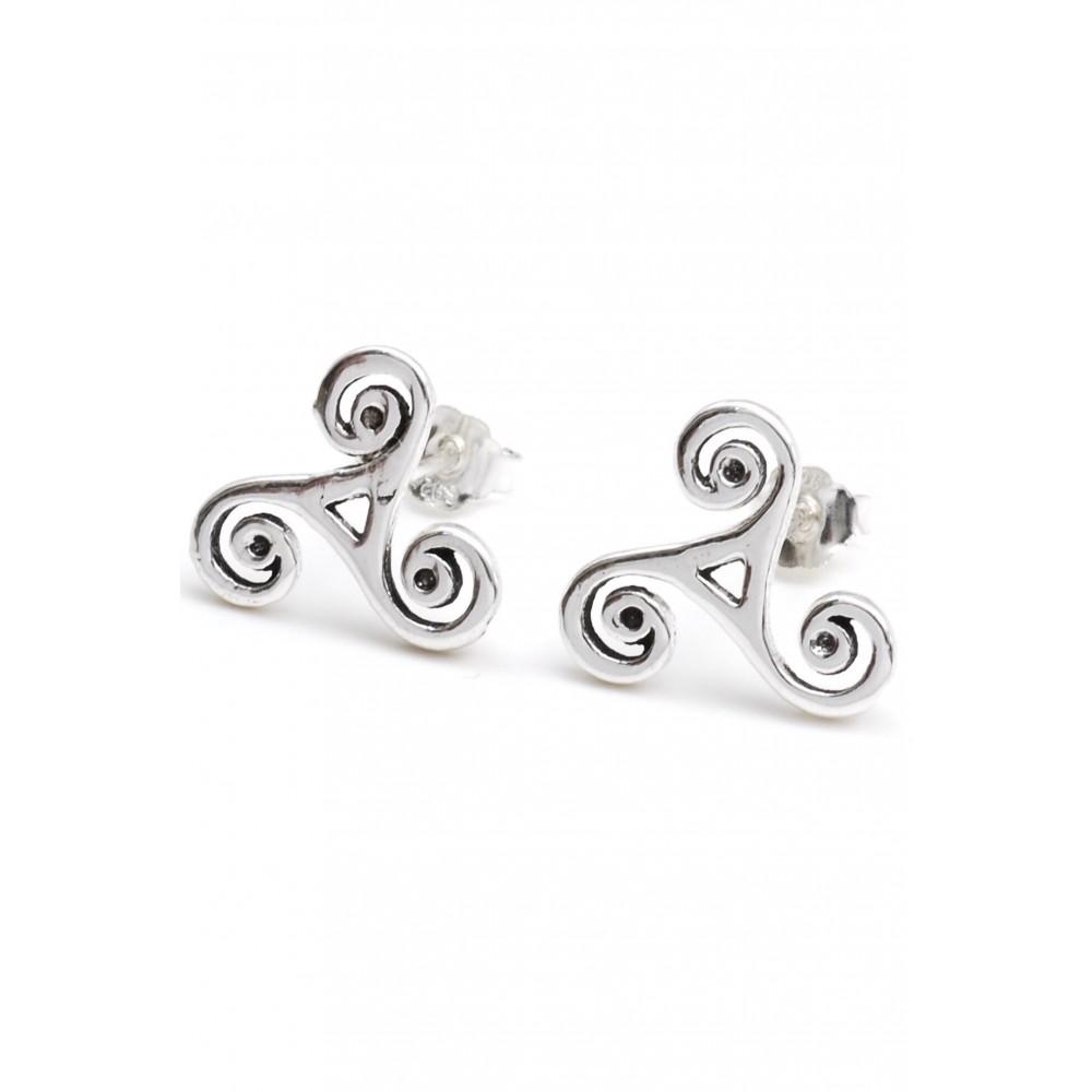 Aros de plata tres espirales en puntas 12mm