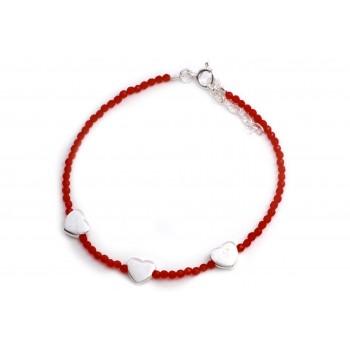 Pulsera de plata mini cristal rojo tres corazones lisos 18cm