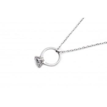 Collar de plata dije anillo de compromiso 40cm