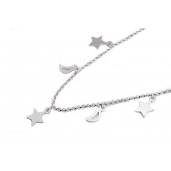 Collar de plata multi dijes estrellas y lunas 40cm