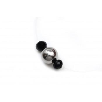 Collar de tanza bolita acero y cristal negro 8mm 12mm