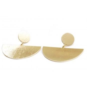 Aros de acero dorado colgante boton y semi circulo satinado 45mm