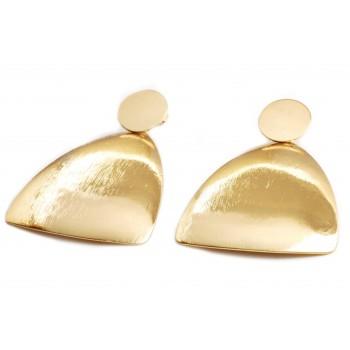 Aros de acero dorado colgante boton y simil gota satinada 55mm