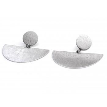 Aros de acero colgante boton y semi circulo satinado 45mm