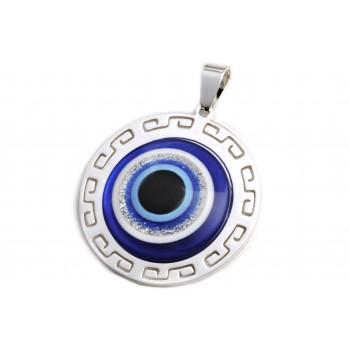 Dije de acero plateado centro ojo turco 37mm