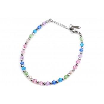 Pulsera de acero cristal multicolor opacos bolitas 18cm