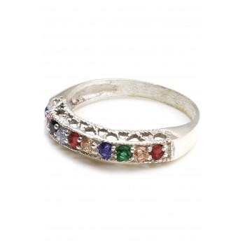 Anillo de plata medio sin fin cubic multicolor borde calado