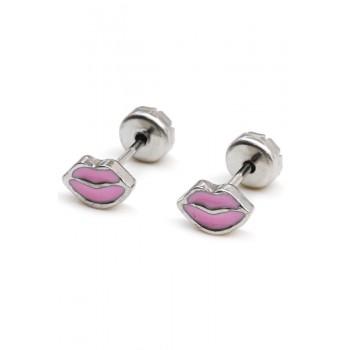 Aros de acero abridor labios rosa 6mm