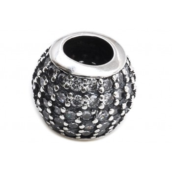 Dije de plata pasante con micropavé 10mm
