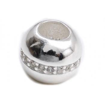 Dije de plata pasante liso hilera micropavé 8mm
