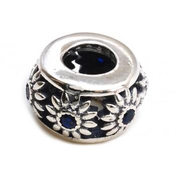 Dije de plata pasante mini margaritas con cubic azul 6mm
