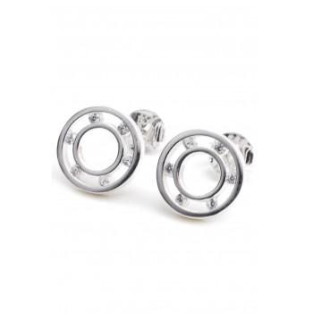 Aros de plata círculo calado seis mini cubics 10mm