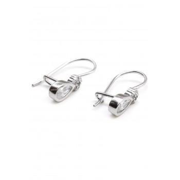 Aros de plata colgante con mini flor y cubic gota colgante 18mm
