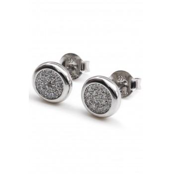 Aros de plata círculo plano centro micropavé borde liso 10mm