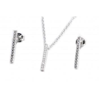 Conjunto de plata aros y cadena barrita con micropavé 40cm