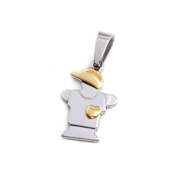 Dije de Acero nene con apliques dorados 16mm