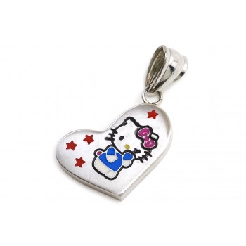 Dije de Acero corazón con Kitty celeste 24mm