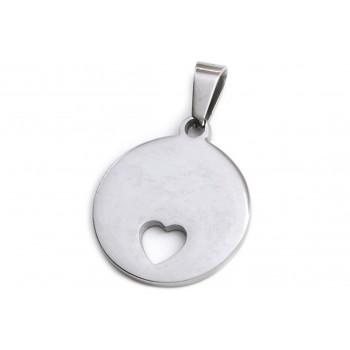 Dije de Acero círculo con corazón calado 20mm