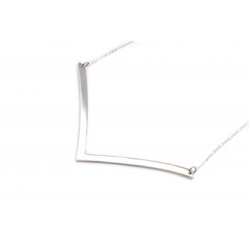 Collar de plata dije forma V alargada lisa 94mm