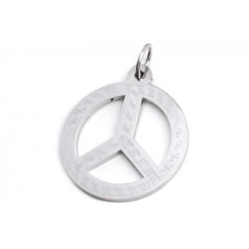 Dije de Acero símbolo de la paz calado 24mm