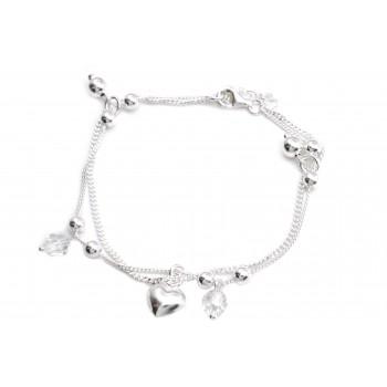 Pulsera de plata doble cadena bolitas, cristal y corazon 19cm