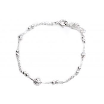 Pulsera de plata cadenas combinadas con bolitas 19cm