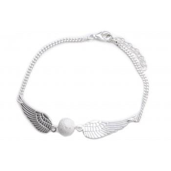 Pulsera de plata alas con bolita esmerilada 19cm
