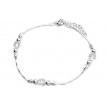 Pulsera de plata combinadas cristal con bolitas veneciana 19cm