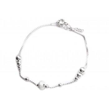 Pulsera de plata cadena combinada dona esmerilada 19cm