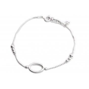 Pulsera de plata combinada centro ovalo calado 19cm