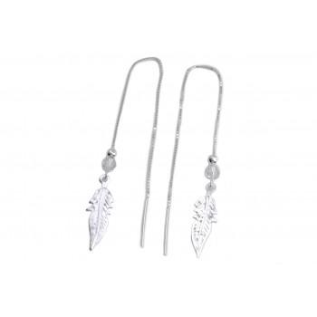 Aros de plata colgante pasante con pluma y cristal
