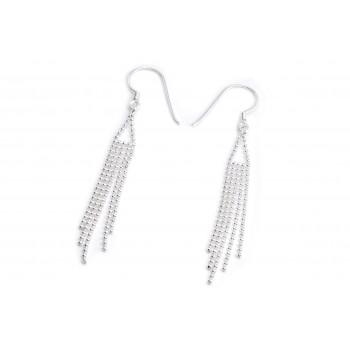 Aros de plata colgante triangulo flecos mini bolitas