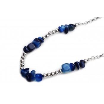 Collar de acero piedra azules y bolitas 50cm