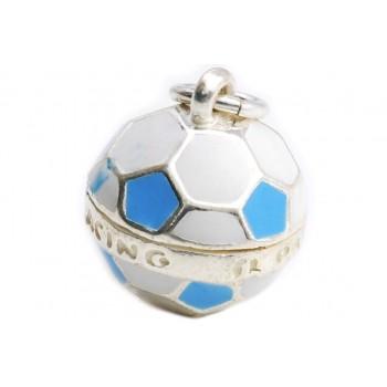 Dije de plata balón futbol de Racing 15mm