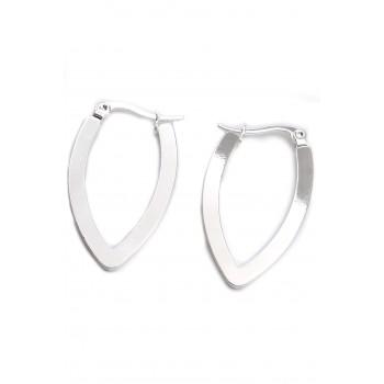 Aros de acero plateado colgante ovalado borde liso 35mm