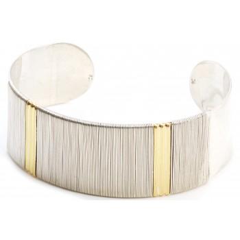 Esclava de plata hilo cinta ancho con apliques duble 22mm