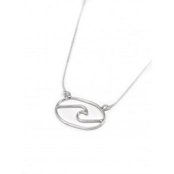 Collar de Plata ovalo con ola calada 15x25mm 40cm